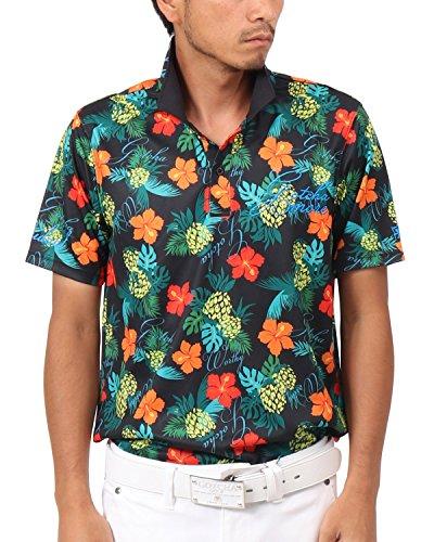 [ガッチャ ゴルフ] GOTCHA GOLF ポロシャツ トロピカル ドライ ポロ 182GG1223 ブラック Lサイズ