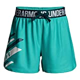 Under Armour Girls' Play Up Graphic Short, Teal Punch/White, Youth Large