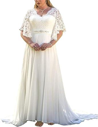 Amazon Com Plumlulu Women S Bat Sleeves Lace Chiffon A Line Wedding Dress Plus Size Bridal Gown Clothing