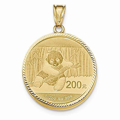 (14K Yellow Gold Diamond-cut Prong Bezel 1/2 oz. Panda Coin Holder (Coin Not Included))