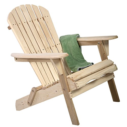 Foldable Fir Wood Adirondack Chair Patio Deck Garden Furniture New by Allblessings