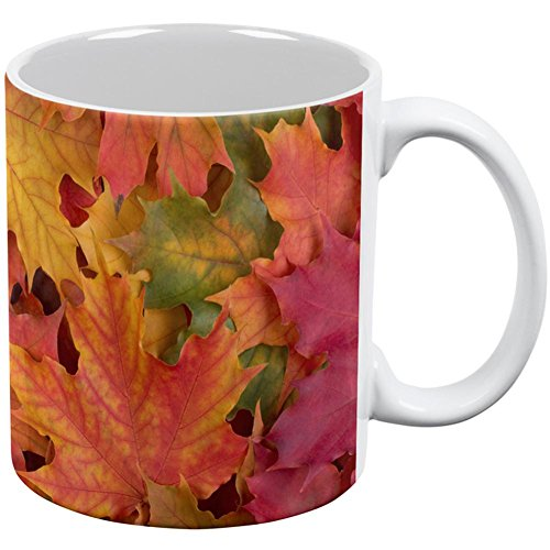 Autumn Fall Leaves All Over Coffee Mug White Standard One Size