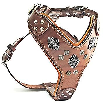 Image of Pet Supplies Bestia 'Aztec Big Dog Leather Harness. 2 Tone Rivet Decorations. Zipper Decoration. Foam and Leather Padding Handmade in Europe.