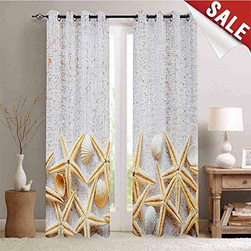 - Seashells, Window Curtain Fabric, Sea Shells on Timber Pattern Tropical Honeymoon Getaways Classic Marine Theme, Drapes for Living Room, W84 x L84 Inch Pearl Ivory