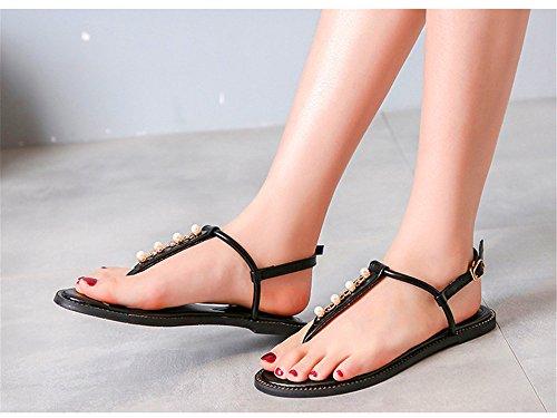 D'été Pour T sangles Femmes Sandales Pour Rome Étudiants Femmes Noires Chaussures Shangyi Sauvages Lanières Plates Chaussures Orteils De vqqAx78Bwp