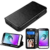 Galaxy J1 Case , Galaxy AMP 2 Case ,TCS-LT Samsung Galaxy J1 2016 & Galaxy AMP 2 & Galaxy Express 3 Phone Case Fold Stand Cover Premium Leather Wallet Pouch with Card Slots (Black)
