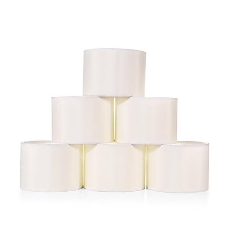 Wellmet 55 Inch Set Of 6 Mini Chandelier Lampshades Fabric Faux Silk Cream White Drum