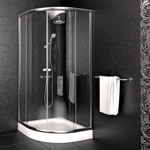 Duschkabine 90x90cm Viertelkreis inkl. Duschtasse Duschabtrennung Duschwanne Dusche