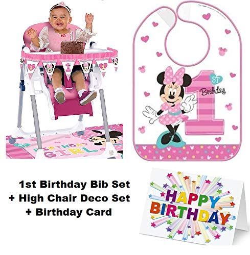 - Minnie Baby 1st Baby High Chair Banner Pink Decoration Plus Minnie Baby BIB 1st Birthday and BIRTHDAY CARD