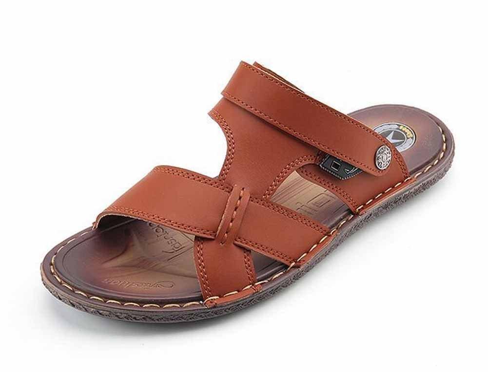 GLSHI Hombres Sandalias De Punta Abierta Ocasionales 2018 Primavera Verano Nuevo Zapatillas De Playa Al Aire Libre Zapatillas De Moda (Color : Dark brown, tamaño : 39) 39 Dark brown
