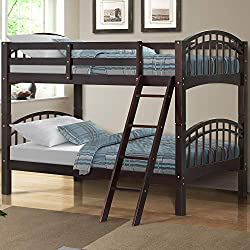Harper&Bright Designs Twin-Over-Twin Solid Wood Bunk Bed (Espresso)
