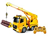 Bo-Toys Large 16 Inch Rc Mercedes Benz Actros Crane Heavy Construction Truck Remote Control 1:18 6 Channel w/ Extending Crane w/ Flashing Emergency Lights and Sound