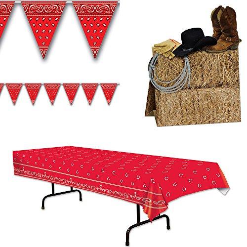 Western Cowboy Tablecover Pennant Banner Centerpiece Bundle Set