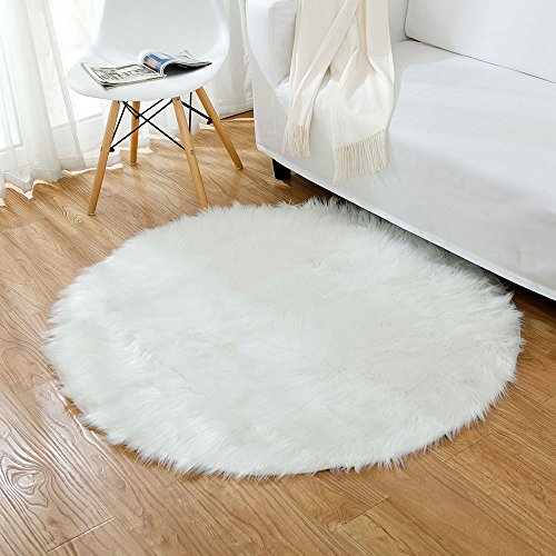 Ojia Deluxe Soft Modern Faux Sheepskin Shaggy Area Rugs Children Play Carpet for Living & Bedroom Sofa Round 3ft, Ivory White