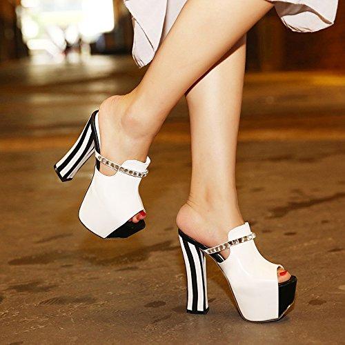 KHSKX-Usar Zapatillas Con Diamante En Bruto Hembra Sexy Zapatos De Tacon Alto Sandalias Impermeables Partido De Boca De Pescado white