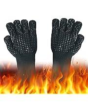 EASONGEE Rękawice do grilla odporne na ciepło, ekstremalnie odporne na wysokie temperatury - rękawice do grillowania, długa ochrona nadgarstka, antypoślizgowy silikon, rękawice do grilla do gotowania piekarnika mikrofalówki spawanie niebieskie