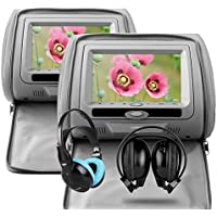 XTRONS® Grey 2X Twin Car Headrest dvd player with Multi-Media USB SD Slot 7 HD Screen Game Disc IR Headphones
