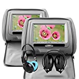 XTRONS® Grey 2X Twin Car Headrest dvd player with Multi-Media USB SD Slot 7'' HD Screen Game Disc IR Headphones