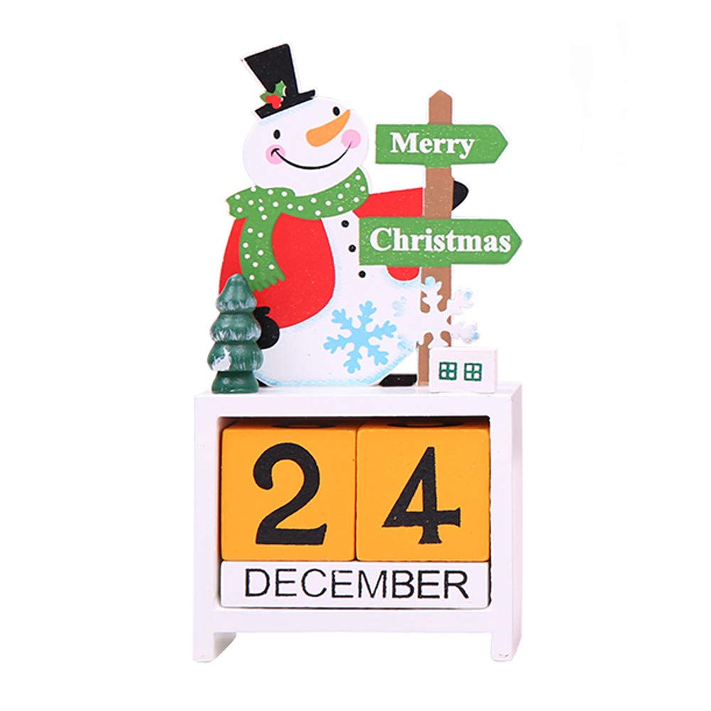 nanzhushangmao Wooden Advent Calendar Decoration Merry Christmas Ornaments Desktop Decorations Holiday Decor Kids Festive Gift (White)