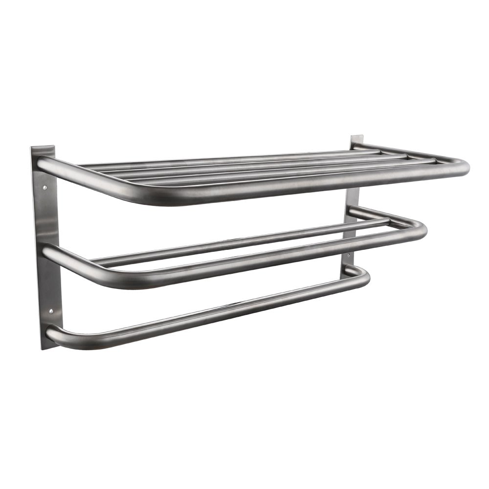 KES SUS304 Stainless Steel Towel Shelf with Bars Wall Mount Minimalist Brushed Finish, BTR200S3-2 KES Home (U.S.) Limited