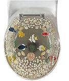 Daniel's Bath & Beyond Polyresin Round Fish Toilet Seat, 17'', Clear