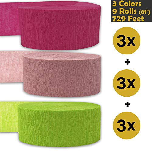 Crepe Party Streamers, 9 rolls, 3 Colors, 739 ft - Hot Pink + English Rose + Lime Green - 243' per color (3 rolls per color, 81 foot each roll) - For party Decorations and Crafts - Flame Resistant, Bleed Resistant, Made in USA