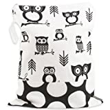 Logan + Lenora Classic Wet Bag - Medium Cloth Diaper Wet Bag - Beach, Pool, Gym Bag for Swimsuits or Wet Clothes - Made in USA -Waterproof (Black and White Owls)