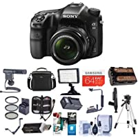 Sony a68 DSLR Camera with 18-55mm f/3.5-5.6 DT SAM II Lens - Bundle with Camera Case, 64GB SDXC Card, Spare Battery, Tripod, Video Light, Shotgun Mic, Cleaning Kit, Software Package and More