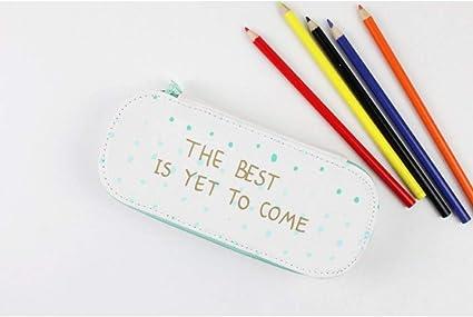 UHSKK Estuche Canvas Simple Green Color Pencil Case, English Words Mint Pencil Box For School Students: Amazon.es: Oficina y papelería