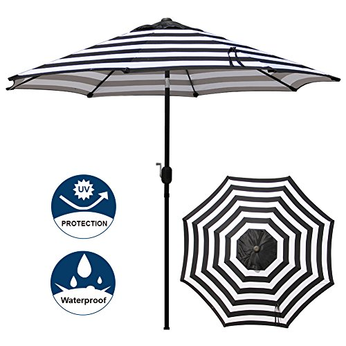 Blissun 9' Outdoor Aluminum Patio Umbrella, Market Striped Umbrella with Push Button Tilt and Crank (Black & White Stripe) (9' Outdoor Square Patio Market)