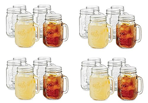 Libbey County Fair 16.5oz Drinking Jar with Handle, Set of 24