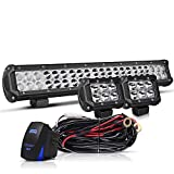 20 Inch LED Light Bar Offroad Light W/ 2pcs 4in Spot Pods Cubes Driving Fog Lights + Wiring Harness Kit For Atv Tractor Ford Jeep Wrangler Bumper Grill Lamps Chevy Dodge Ram Truck Boat Golf Cart