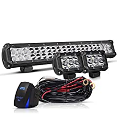 """Specifications: - 20"""" Led Light Bar: Power: 126Watt Voltage: 10-30V DC Beam Angle: Combo (spot&flood)LED color: White (6000K) Raw Lumens: 12,600 lm Material: Aluminum Alloy Metal Housing, PC Lens Waterproof Level: IP67 Life Span: 5..."""