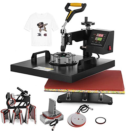 "SHZOND 8 in 1 Heat Press Machine 15""x 15"" Heat Transfer Machine Multifunctional 360 Degree Swing-Away Heat Press Machine for T Shirts/Hat/Mug/Plate/Cap (15x15 inch 8 in 1)"