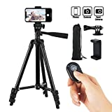 Hitch Phone Tripod, Gopro Tripod 42 Inch 106cm Aluminum Lightweight Smartphone Tripod for Iphone/Samsung/Huawei Cellphone, Camera and Gopro with Bluetooth Remote Control, Carrying Bag and Gopro Mount