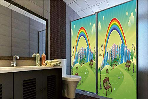 (Horrisophie dodo No Glue Static Cling Glass Sticker,Cartoon,Kids Nursery Decor Park Bench Hills Apartments Rainbow Beams Flowers Art Print,Multicolor,39.37
