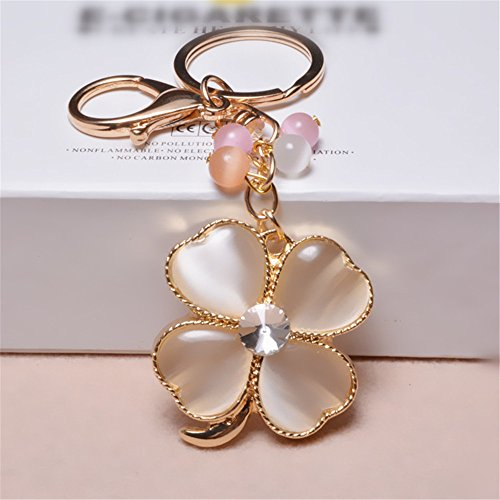 - Opal Lucky Four Leaf Clover Shape Crystal Diamond Car Keyrings Keychain Bag Charms