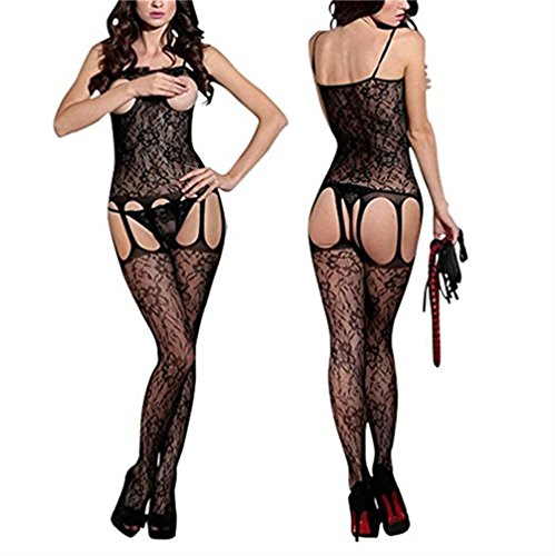 BOOMLEMON Women's Open Bust Bodystocking Crotchless Lace Lingerie Bodysuit Black