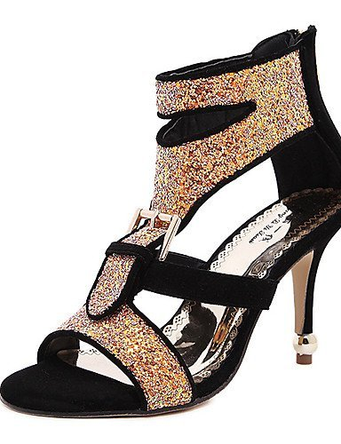 ShangYi Women's Shoes Synthetic Stiletto Heel Open Toe Sandals Dress Black / White / Gold