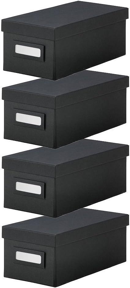IKEA Tjena caja con tapa caja de [4 unidades] – para oficina, almacenamiento, suministros, organización, piezas pequeñas: Amazon.es: Oficina y papelería