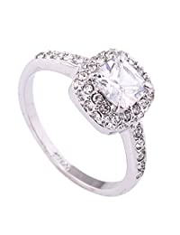 Acefeel Charming Square Main Stone 4 Prong Setting Aound Small Zircon Fashion Promise Engagement Ring R053