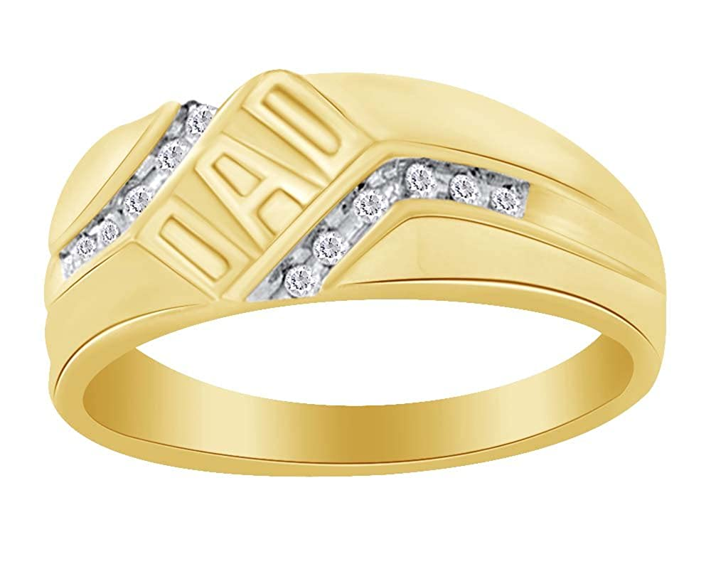 0.12 Cttw For Fathers Day Gift Round Cut White Natural Diamond DAD Ring in 10K Solid Gold