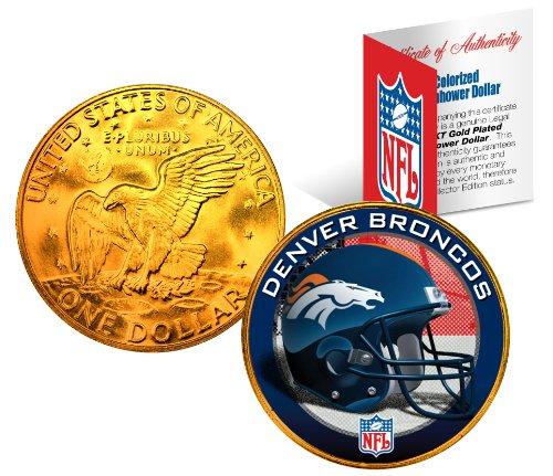 DENVER BRONCOS NFL 24K Gold Plated IKE Dollar US Coin *OFFICIALLY LICENSED* (Game Official Denver Broncos Coin)
