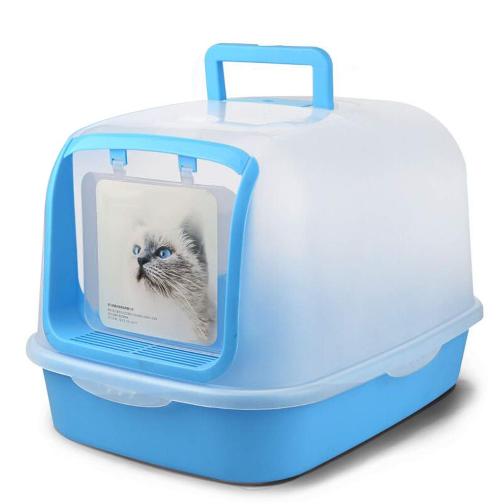 bluee JTWJ Fully Enclosed Visible Folding Litter Box Deodorant Pine Double Cat Leopard Cat Supplies (color   bluee)