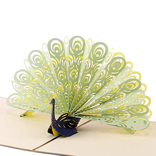 Paper Spiritz Peacock Pop up Card Birthday for Wife Husband Son Thank You Greeting Card Kids 3D Anniversary Card with Envelope Laser Cut for Wedding Graduation Get Well (Green, Pack of 1) ()