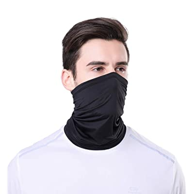 TEUME Neck Gaiter Sun UV Protection Summer Face Mask Breathable Balaclava Scarf for Hiking Fishing Cycling (Black): Automotive