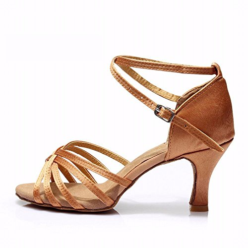 xiao123 Women's Latin Dance Soft-Soled Adult Cowboy Dance Sandals Gold Leather Knots 5 Points Moda Cuadrada Simple Conveniente Moderna