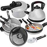 LoKauf 10Pcs Kids Cookware Set Toy Kitchen Cooking Playset Play Kitchen Accessories - Large Size