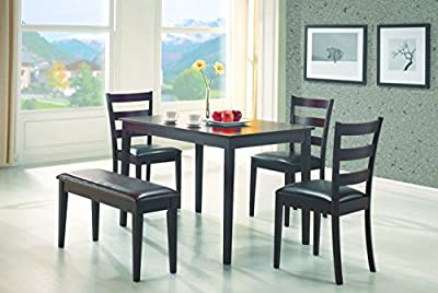 5pc Dining Dinette Table Chairs & Bench Set Cappuccino Finish