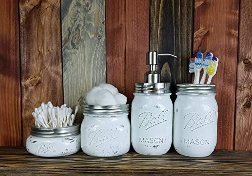 ce Painted Mason Jar Bathroom Set with Soap Dispenser Lid - Bathroom Accessories - Rustic Farmhouse Decor - Country Chic - Available in 20 Colors - Shown in Bright Ivory White ()
